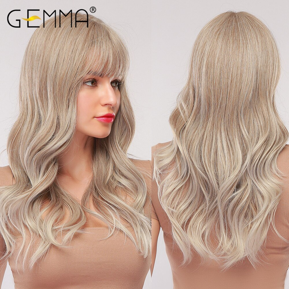 GEMMA Long Wavy Wigs with Bangs Cosplay Natural Ombre Light Brown Ash Blonde Synthetic Hair for Women High Temperature Fiber