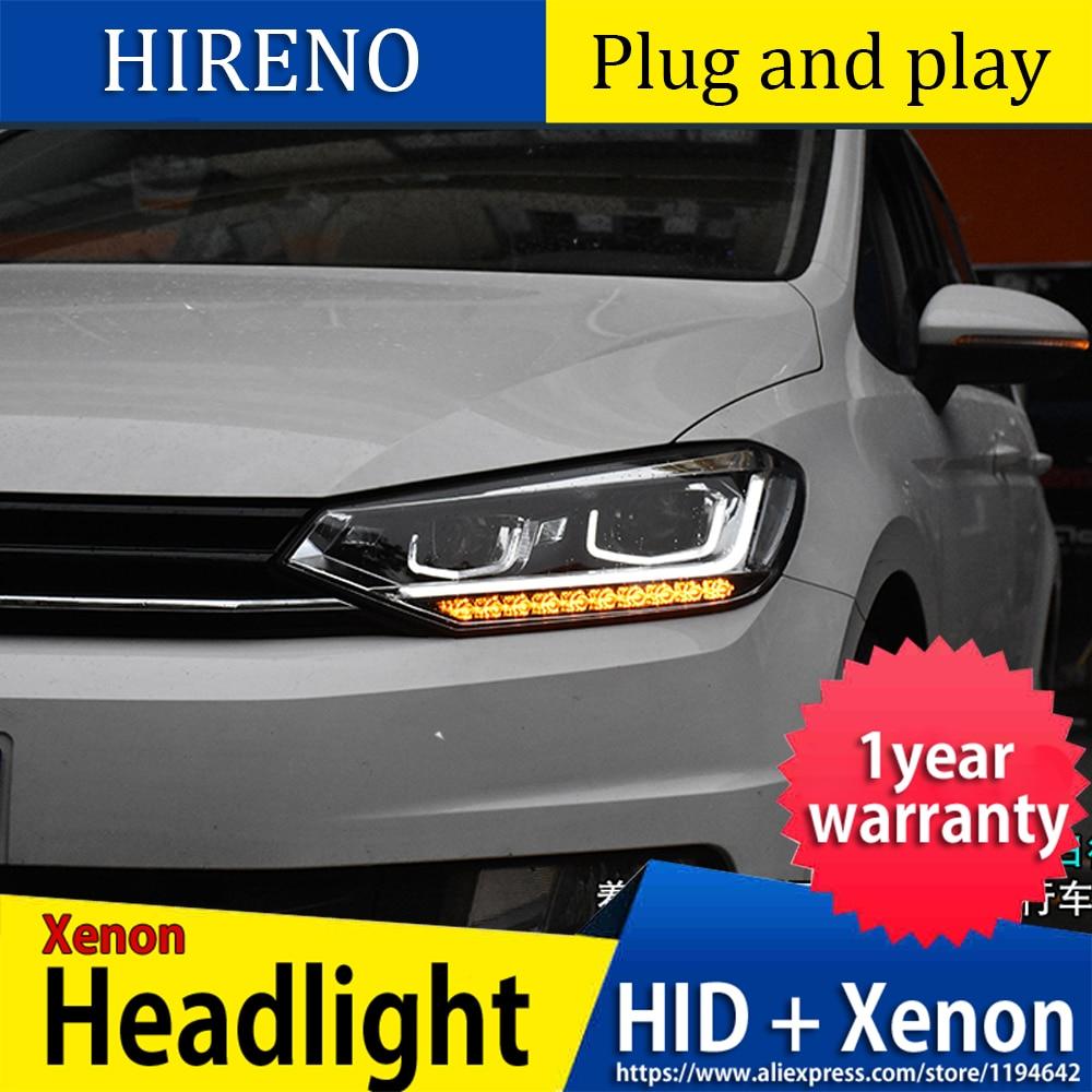 Car Styling Head Lamp case for VW Touran Headlights Touran 2016 2017 LED Headlight DRL Lens Double Beam Bi-Xenon HID