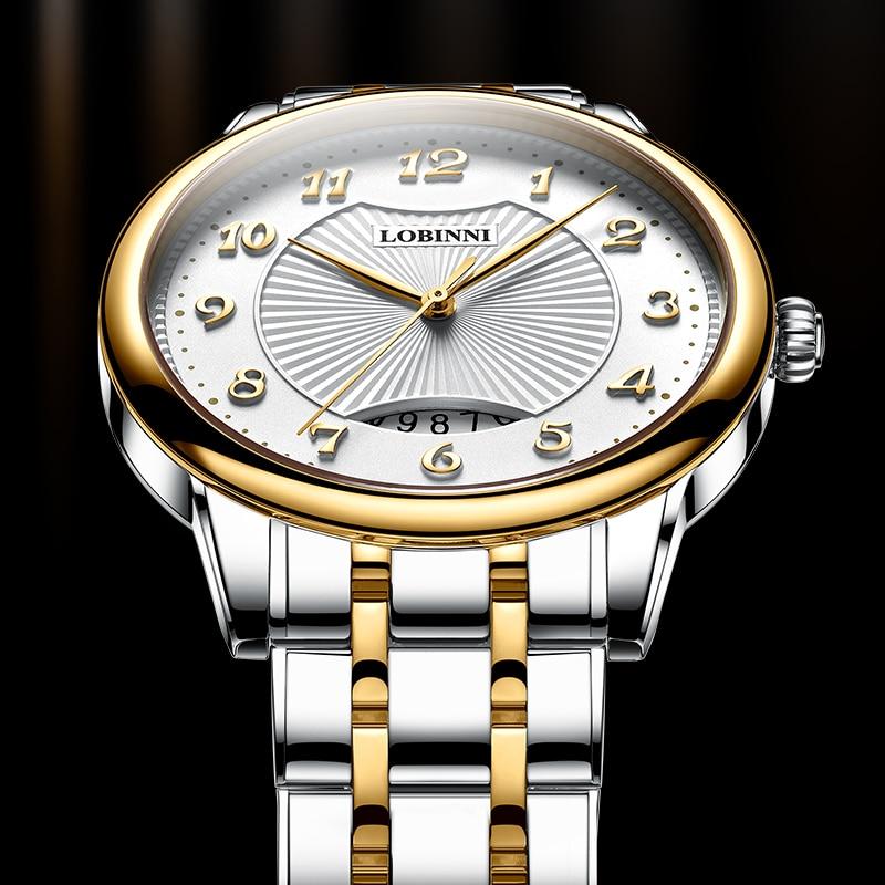 New Luxury Brand LOBINNI Switzerland Man Watches Ultra-thin Quartz Watch Men Sapphire Waterproof Stainless Steel Clock L3016M enlarge