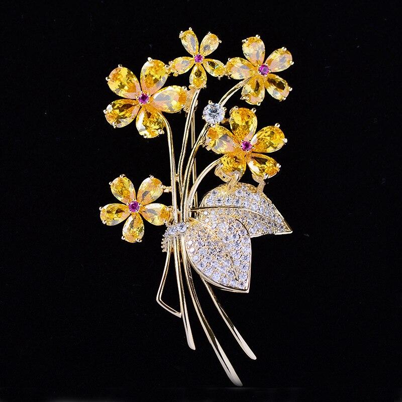 Luksusowe piękne żółte kryształowe cyrkonie kwiat broszki szpilki kobiety biżuteria kostiumowa bukiet ślubny Pin Brosche femme bijoux