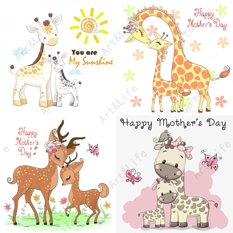Hot New Metal Cutting Dies Happy Mother's day Cute Deer Stencils for Making Scrapbooking Album Father's day Embossing Cut Die