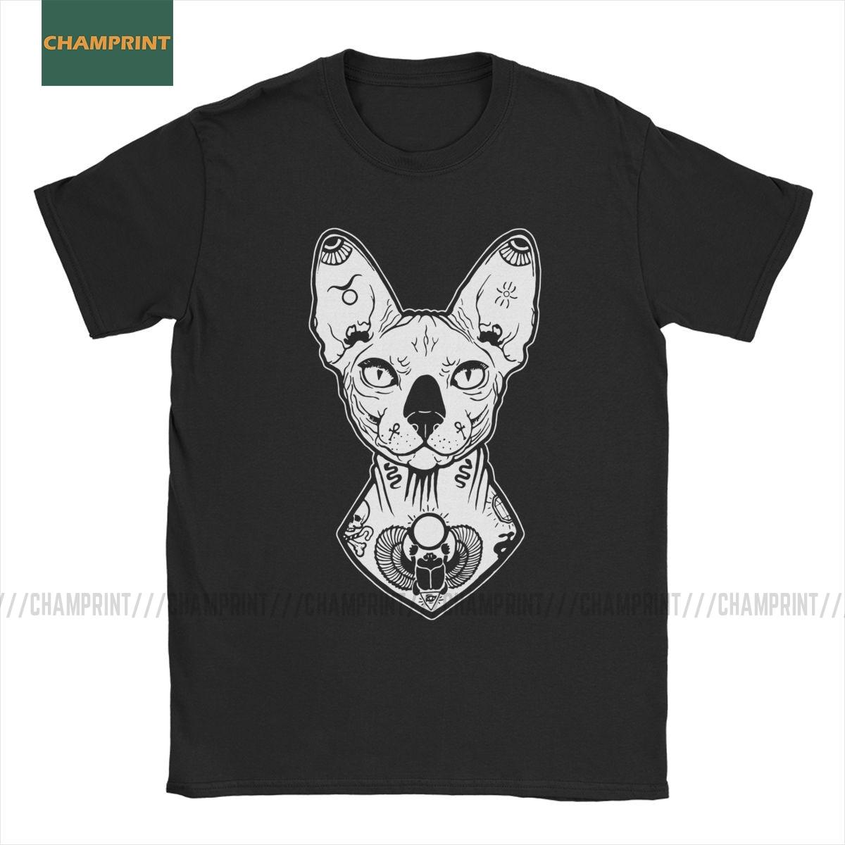 Sphynx, camisetas tatuadas para hombre, 100% de algodón, camiseta Vintage, Gato Canadiense sin pelo, Animal mascota, Linda Camiseta de manga corta, Tops de talla grande