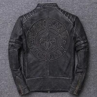 embroidery locomotive serve head layer thickness cowhide genuine clothing do used leather jacket stand lead winter coat