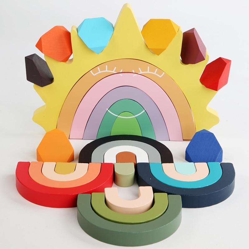 New Baby Toy Wooden Jenga Montessori Colored Stone Creative Educational Toys Nordic Style Stacking Game Rainbow Stone Wooden Toy colored stone baby toy wooden jenga building block creative educational toys nordic style stacking game rainbow stone wooden toy