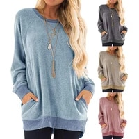 donsignet fashion women sweater new autumn casual hot sale round neck pullover stitching contrast loose knitted pocket sweater