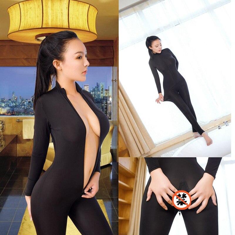 Neue Sexy Öffnen Gabelung Bodycon Langarm Overalls Mode Mesh Sehen-Durch Schwarz Romper Dünne Doppel-reißverschluss Overalls Femme
