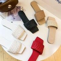 Шлепанцы женские плетеные с открытым носком, пляжные сандалии на плоской подошве, повседневные, для отдыха, 2021