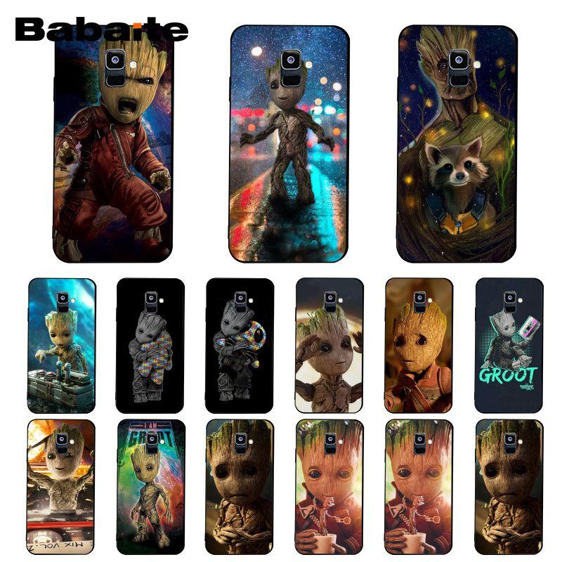 Babaite guardián Rocket Raccoon Groot Treeman teléfono caso para el modelo samsung galaxy A7 2018 A50 A70 A8 A3 A6 A6Plus A8Plus A9 2018