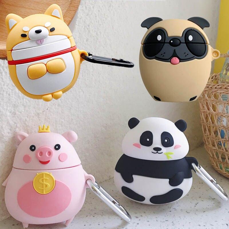 Für Apple AirPods Mops Corgi Welpen Hund Fall 3D Nette Cartoon Fett Crown Geld Schwein Panda Drahtlose Kopfhörer Abdeckung für airpods 2 Shell