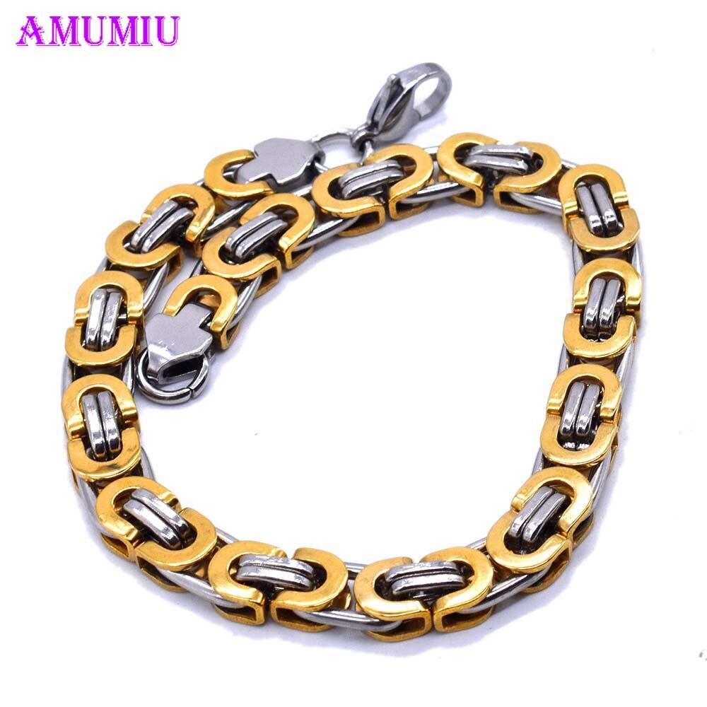 Pulsera AMUMIU para hombres y mujeres, cadena de eslabones cubanos de acero inoxidable, pulseras para hombres y mujeres, cadenas Davieslee, joyería para hombres B098