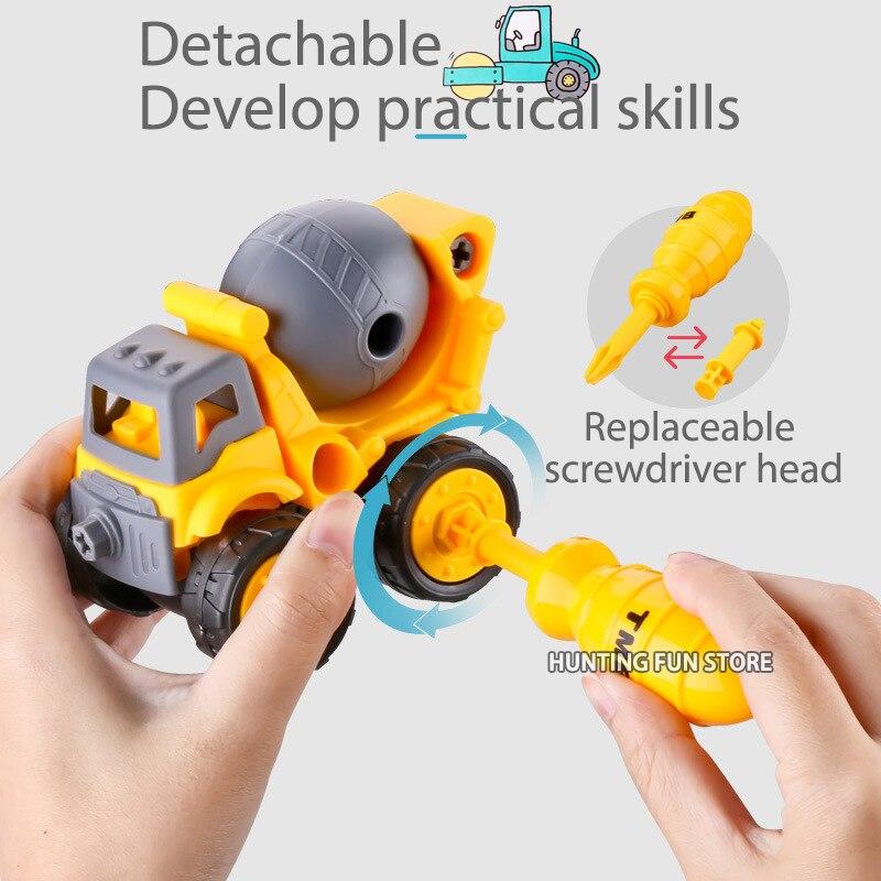 Juego de 4 unids/lote de destornilladores desmontables para bebés, juego de destornilladores para excavadora, juego de destornilladores para coches de ingeniería, juguetes educativos para regalo de bebé