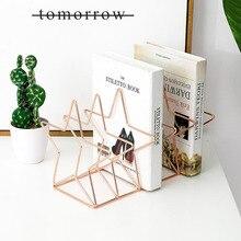 Créatif Rose or Triangle fer bibliothèque livres Style nordique salon bureau décoration supports livres journal étagère de rangement