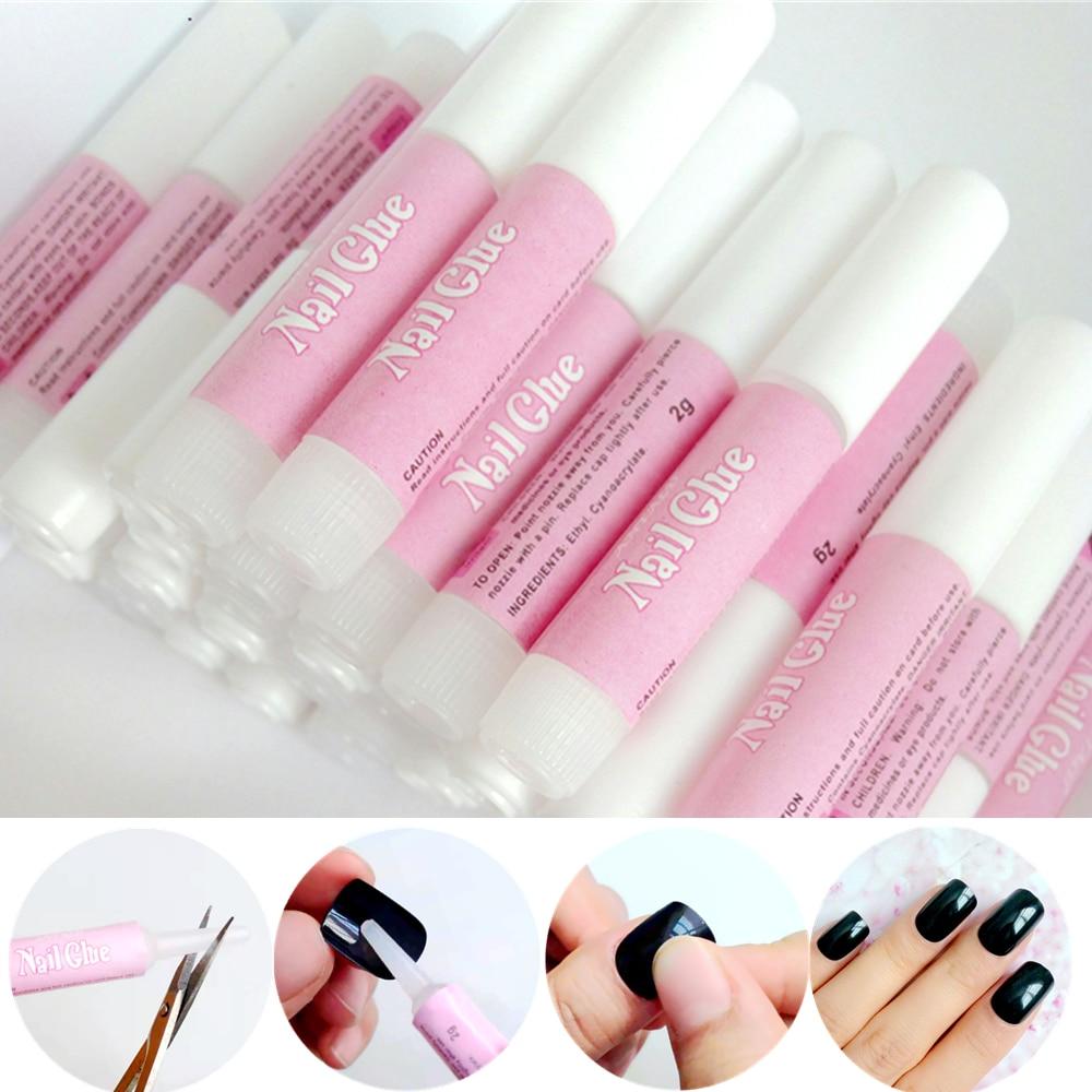 100Pcs Wholesale 2g Mini Size False Nails Glue Professional Acrylic Nail Art Decor Glue Stick Rhinestones Pearls Manicure Tools