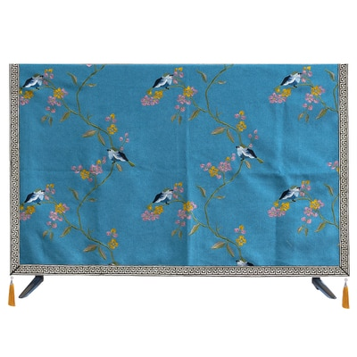Custom Embroidery Flower Birds LCD TV Set Dust Covers Hanging Desktop TV Chinese Cotton Linen Cover Cloth Universal Cover towel enlarge