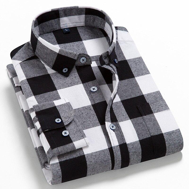 Мужская Фланелевая хлопковая рубашка в клетку, повседневная мужская рубашка в повседневном стиле, рубашка с длинными рукавами и воротником...