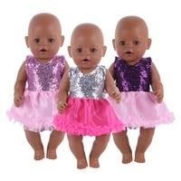 2021 new baby new born fit 18 inch doll clothes accessories sequined veil dress suit for baby birthday gift