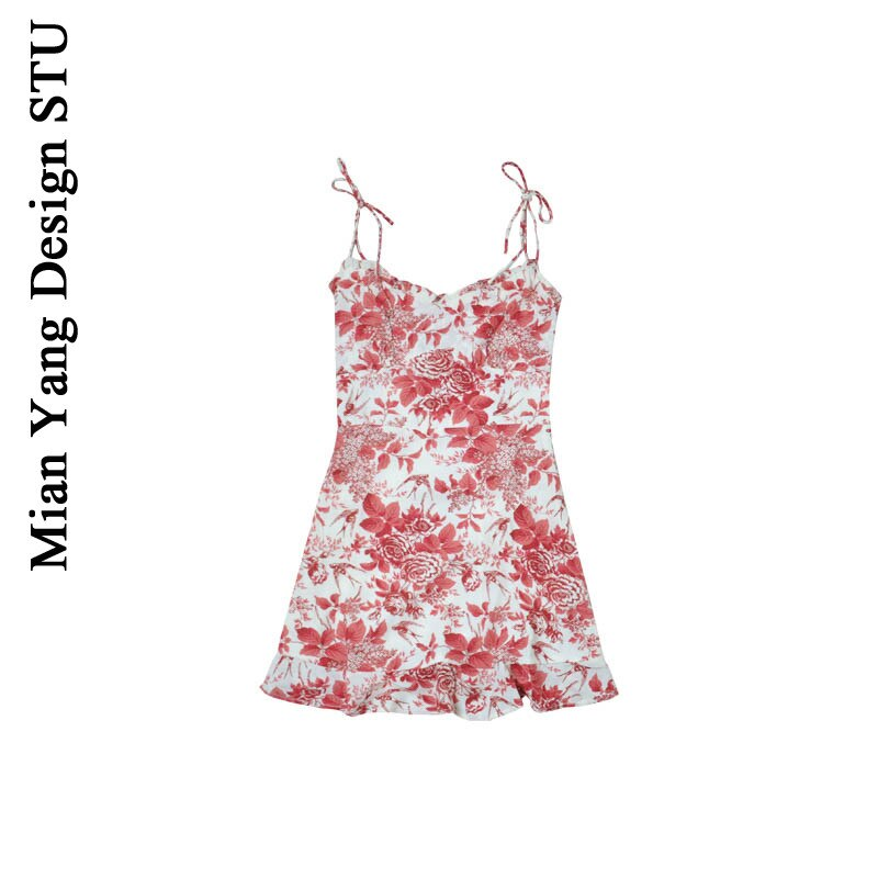 Cotton Ocean Retro Printing Slip Dress Sexy Beach Holiday Color Lace Skirt Ins High Waist Slip Dress