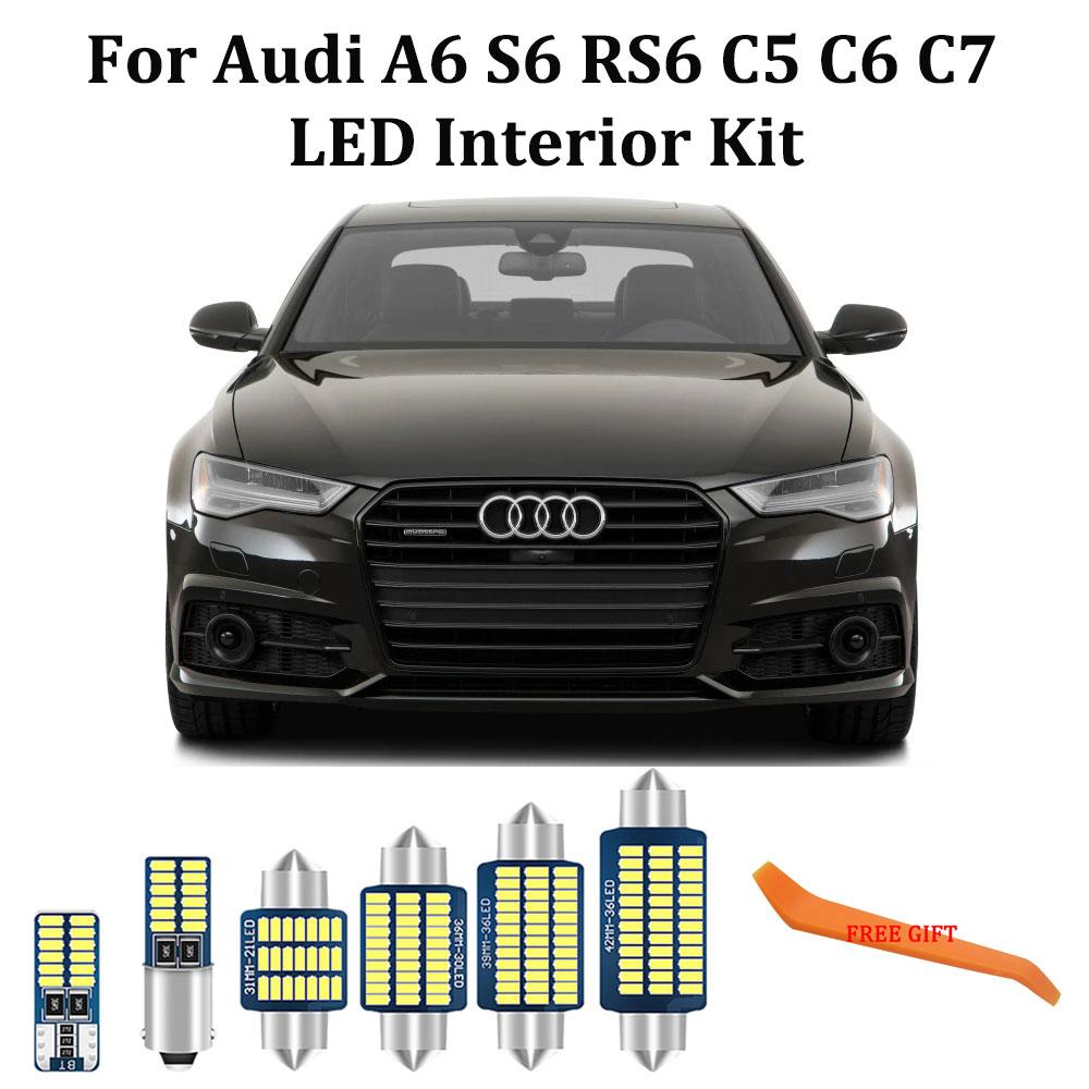 Blanco 100% libre de Error para Audi A6 S6 RS6 C5 C6 C7 4B 4F 4G Quattro sedán Avant Interior LED cúpula luces de lectura de mapas Kit