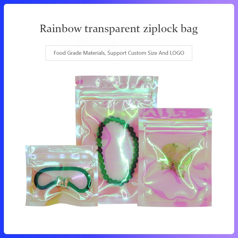 Bolsas Ziplock holográficas, iridiscente bolsa con cremallera, cremallera láser plana, Mini bolsas de papel de aluminio, cosméticos, sal de baño, respetuosa con el medio ambiente
