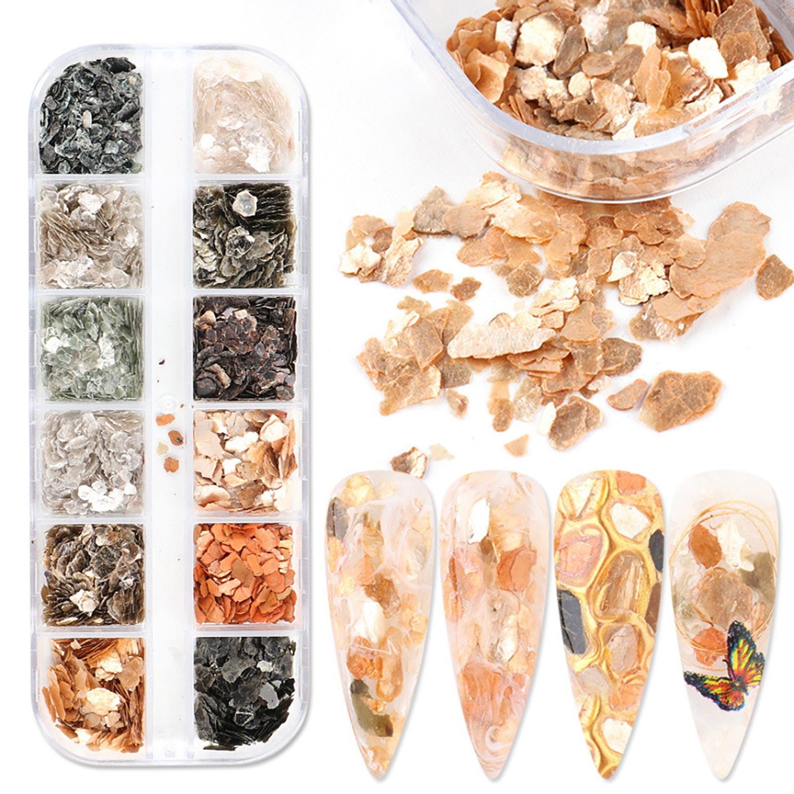 3D Nail Decoration Holographic Love Heart Nail Sequins Glitter Dipping Powder for Acrylic Nails Art