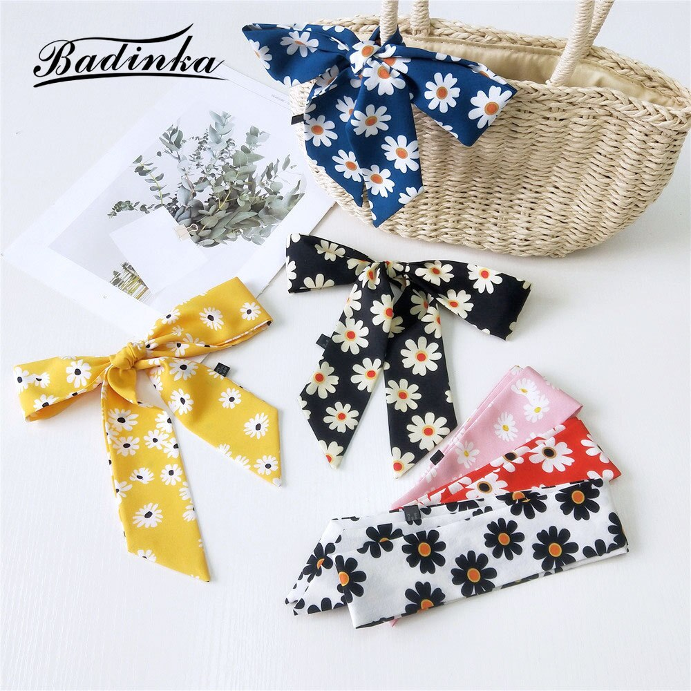 2020 New Women's Daisy Floral Printed Long Skinny Hair Tie Scarf Bandana Female Hand Bag Handle Scarves Headband Foulard Cheveux france luxe oblong on long and skinny barrette itsy daisy