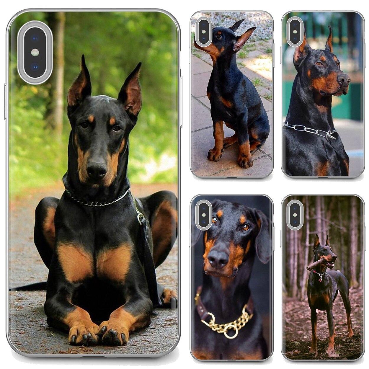 Para Samsung Galaxy A10 A30 A40 A50 A60 A70 S6 activo Nota 10 Plus M30 suave caso Pinscher perro dóberman lengua cara arte
