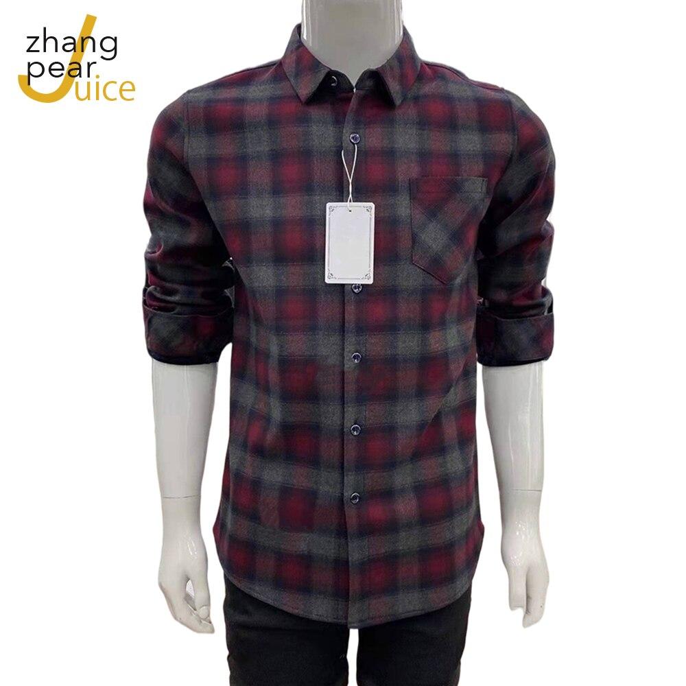 Мужская повседневная фланелевая рубашка в клетку, Классическая рубашка с длинными рукавами и воротником на пуговицах, мужская рубашка в по...