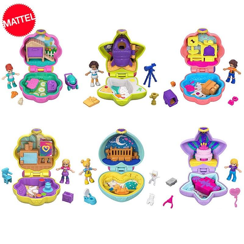 Original de Polly Pocket mundo Mini caja de Juguetes con accesorios muñeca casas chicas Juguetes Reborn Juguetes chica Mini muñeca miniatura casa