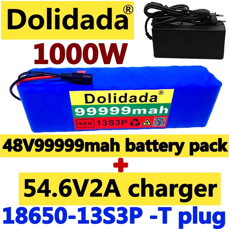 Dolidada 48V99.999Ah 1000 واط 13S3P 48 فولت بطارية أيون الليثيوم حزمة 99999 مللي أمبير ل 54.6 فولت دراجة كهربائية سكوتر مع BMS مع شاحن