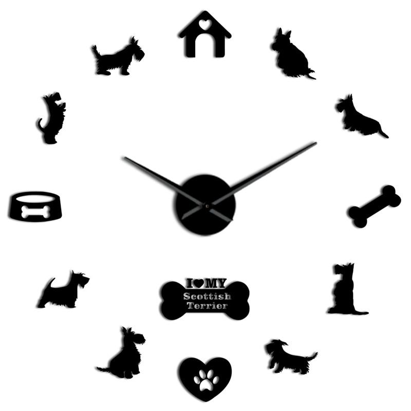 Gran oferta de reloj de pared grande Terrier escocés Aberdeen Terrier I Love My Scottie Diy Sticker sin marco Reloj de pared grande barrido silencioso