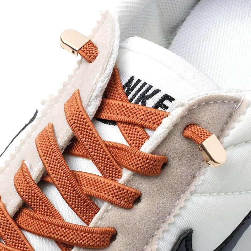 Cordones elásticos sin atado unisex para niños y adultos, cordón para zapatillas de deporte y aire libre, lazos planos de seguridad rápida, accesorios, lazada para perezosos, 1 par