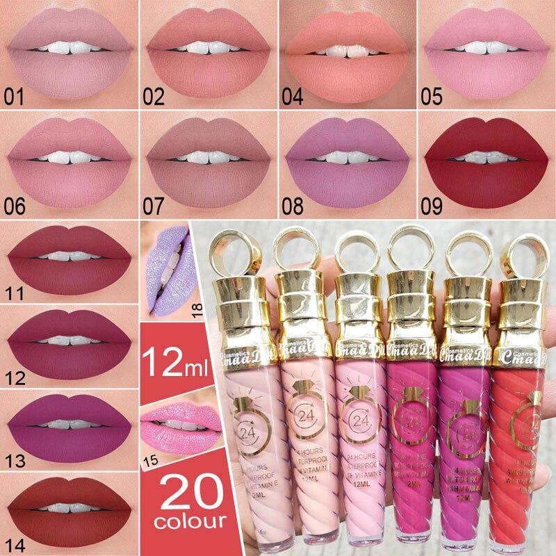 20 Colors Lipstick Waterproof Long Lasting Natural Matte Shimmer Sexy Women Moist Lip Gloss Nude Gli