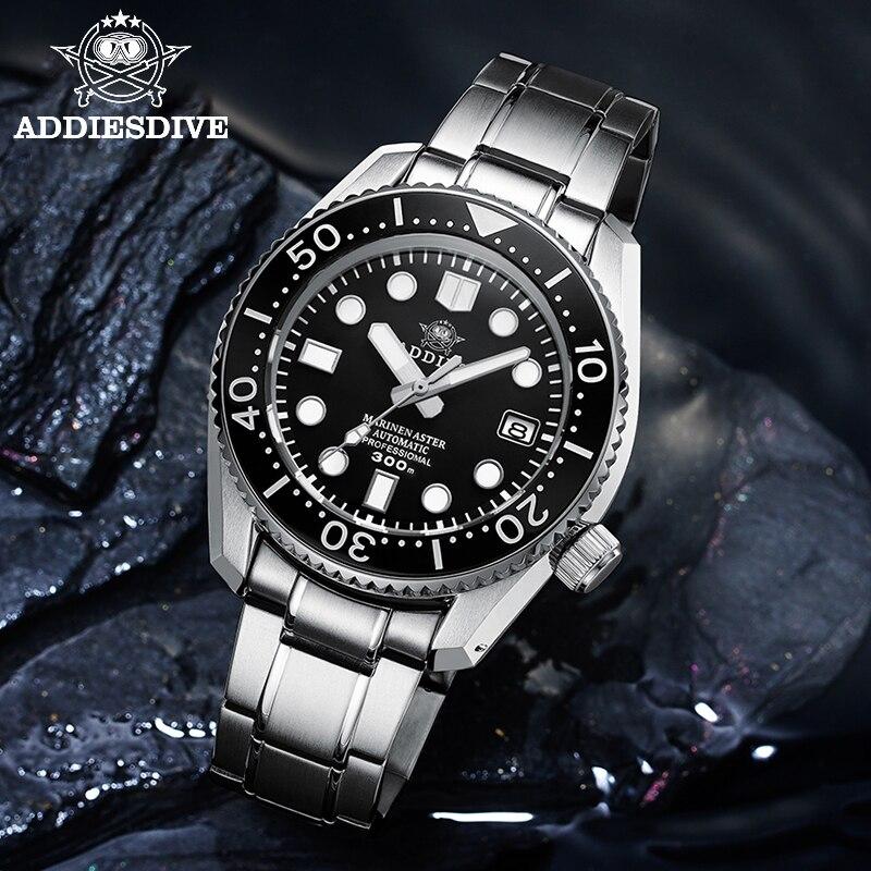ADDIESDIVE 1968 300m reloj de buceo mecánico hombres relojes mecánicos C3 luminoso Acero inoxidable relojes de buceo para hombres NH35 zafiro