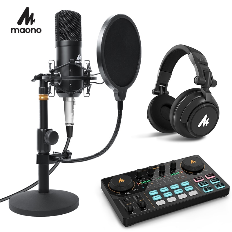 MAONO Podcast Microphone Kit 3.5mm Condenser Studio microfono Professional Computer Mic for Youtube Skype Gaming PC Laptop
