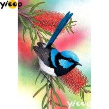 Carré complet/rond perceuse diamant peinture bleu robin sur arbre 5D bricolage diamant broderie strass mosaïque décoration AX1402