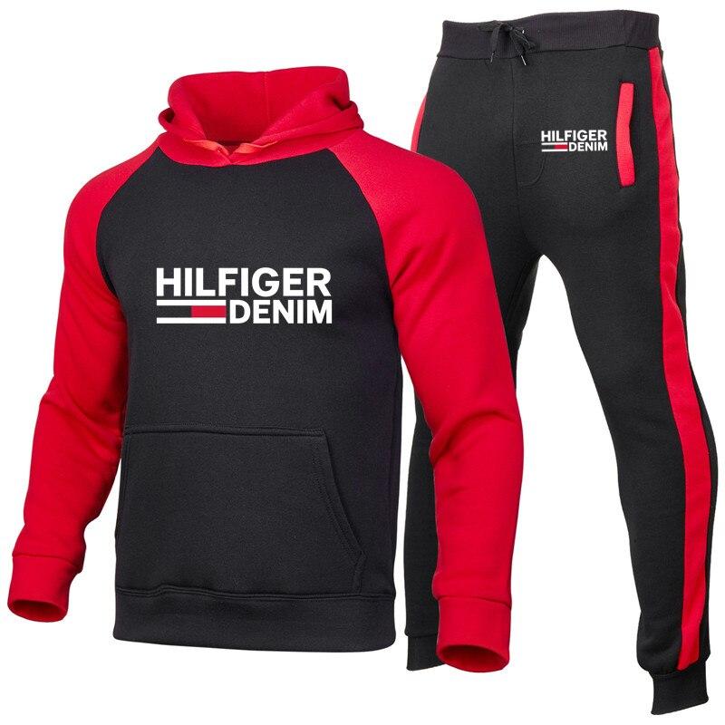 Tom hoodies conjuntos de treino homme camisolas com capuz + calças pulôver hoodie sportwear terno casual masculino moda estampado conjunto