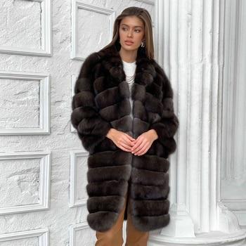 Dark Sable Color Natural Fox Fur Coat Long Women Winter Fahsion High Quality Full Pelt Fox Fur Coats Genuine Fur Overcoat Luxury