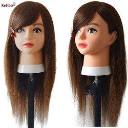 Cabeça de maniquin com 100% hai humano para o aluno cabeleireiros prática pintura tintura lixívia onda ferro trança corte cabelo trainin boneca cabeça
