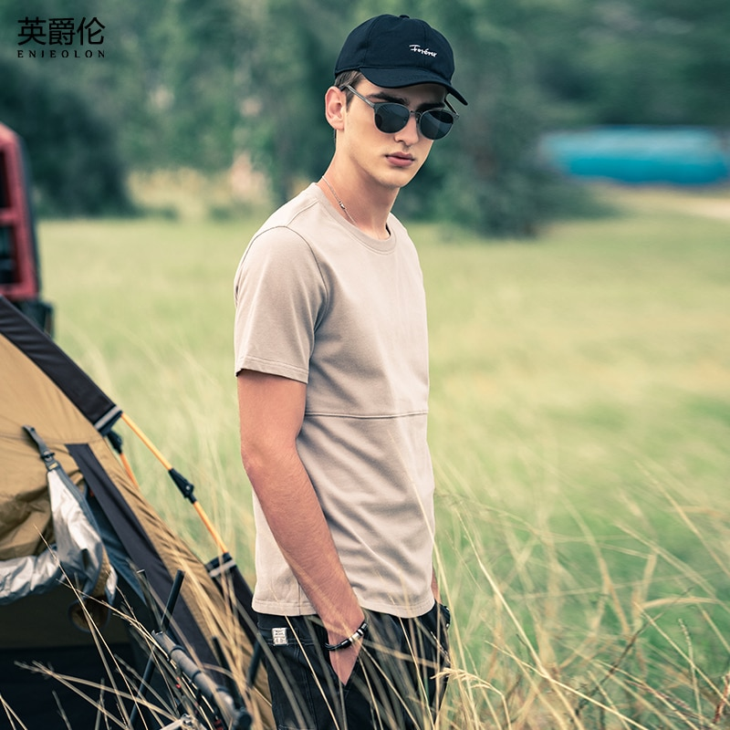 AliExpress - Enjeolon 2021 New Men Short Sleeved T-shirt Casual 100% Cotton Simplicity Print Tshirts O-neck Men Tops Tee T8372