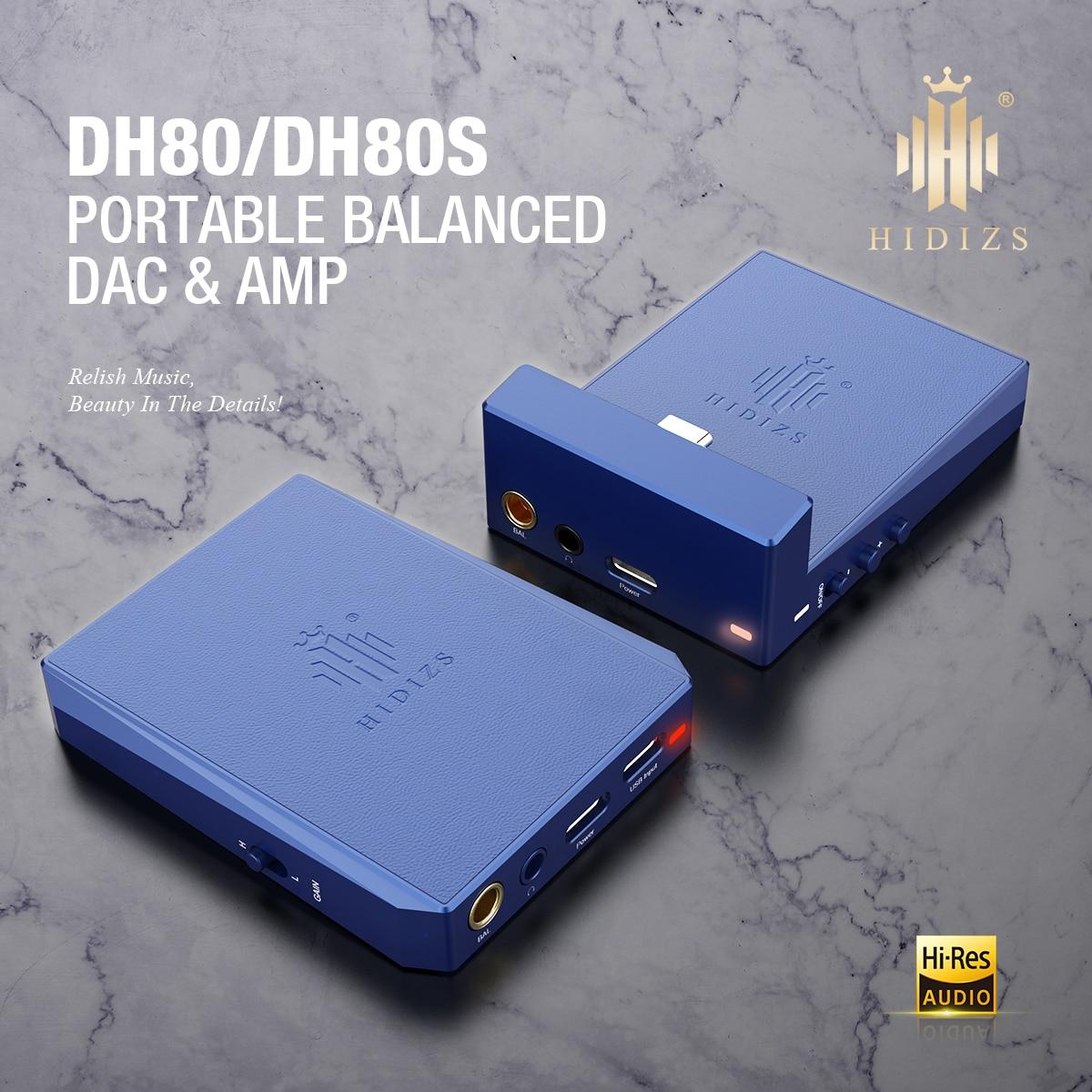 Hidizs DH80/DH80S USB DAC/أمبير محمول متوازن مع MQA دعم سبائك الألومنيوم نك شل 3 مستوى كسب اختيار للهاتف/Dap