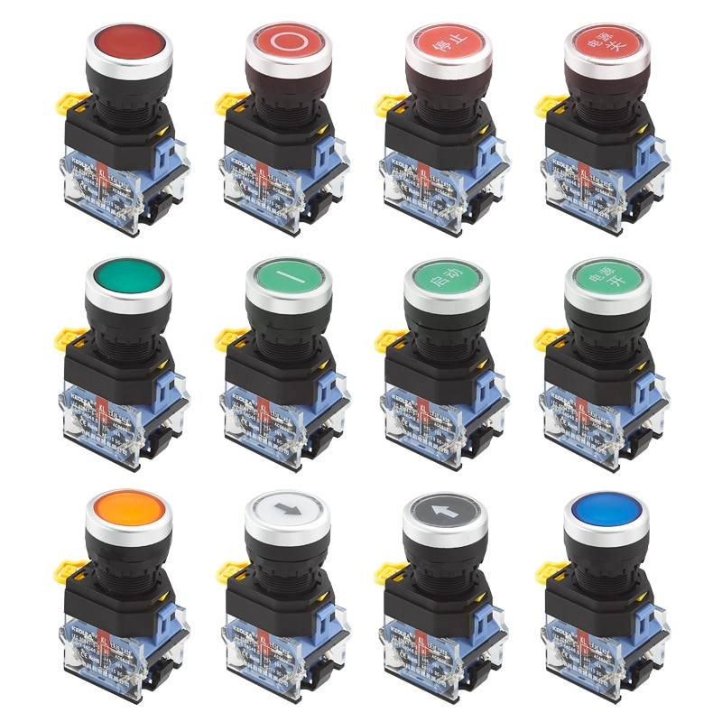5pcs la38a 11bn quality sliver contact push button switch on off momentary latching 22mm white Installation hole 22mm Flat push button Momentary/Maintained Red Green Yellow White Blue Black LA38A-11BN LA38-11BNZS