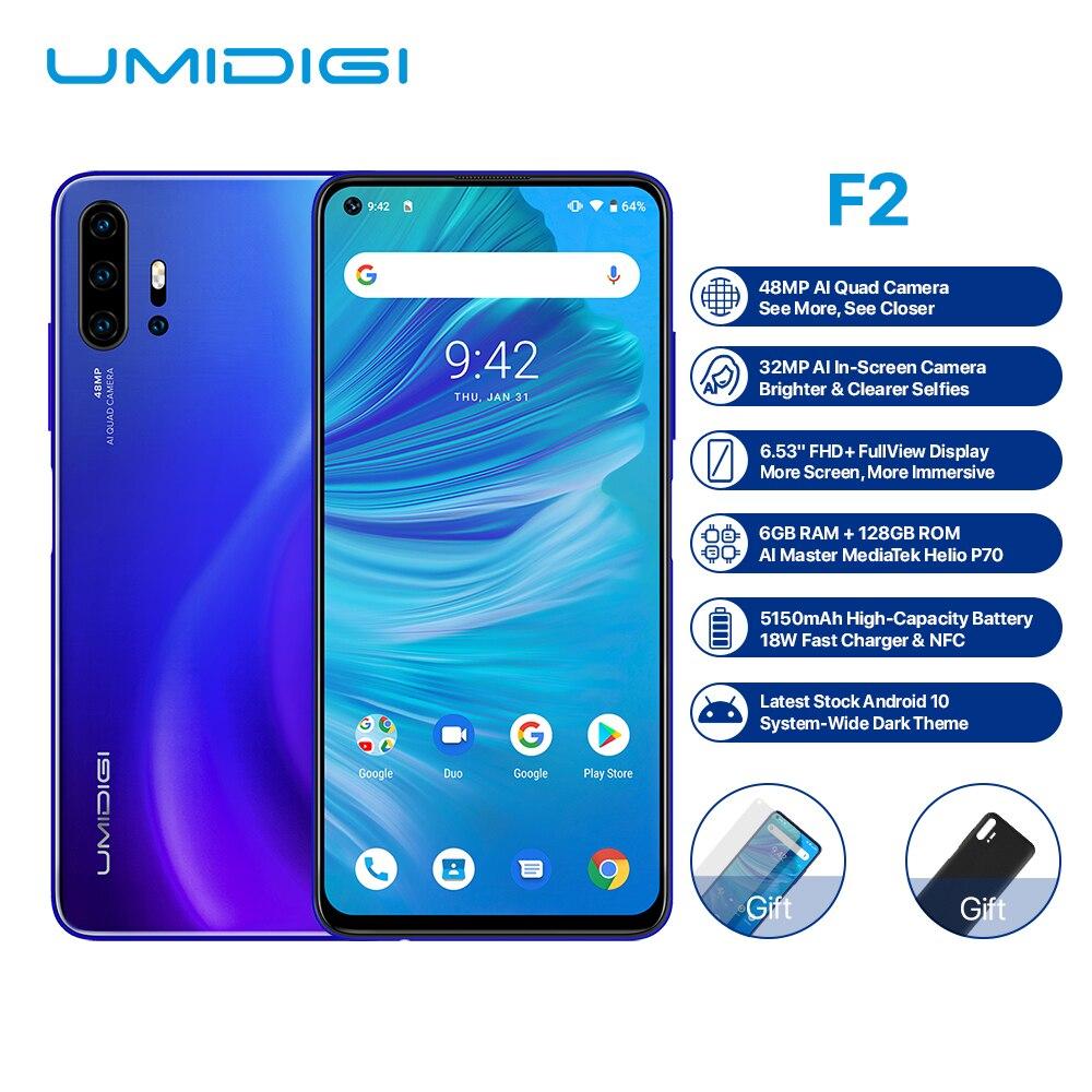 "UMIDIGI F2 Smartphone Android 10 Helio P70 48MP AI Quad cámaras 5150mAh 6GB RAM 128GB ROM 6,53 ""FHD + NFC de versión Global Dual 4G"