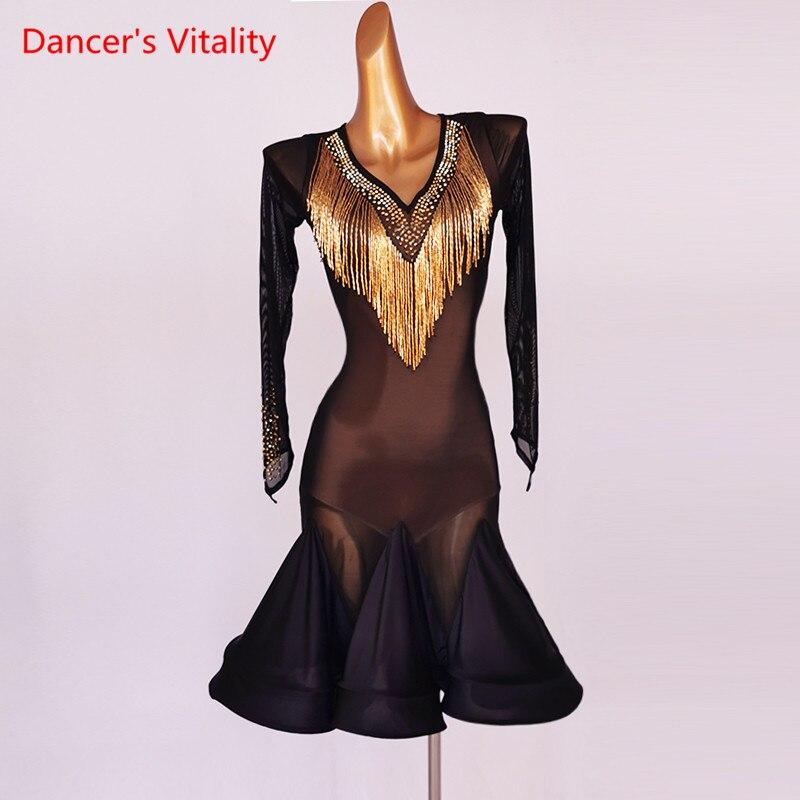 فستان رقص اللاتينية الماس الخامس الرقبة شبكة تنورة طويلة الأكمام أداء الملابس الراقية مخصص الكبار ملابس الطفل المنافسة