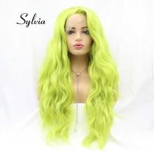 Perruque Lace Front wig synthétique verte-Sylvia   Perruque Loose Wave longue résistante à la chaleur, perruque Cosplay en Fiber