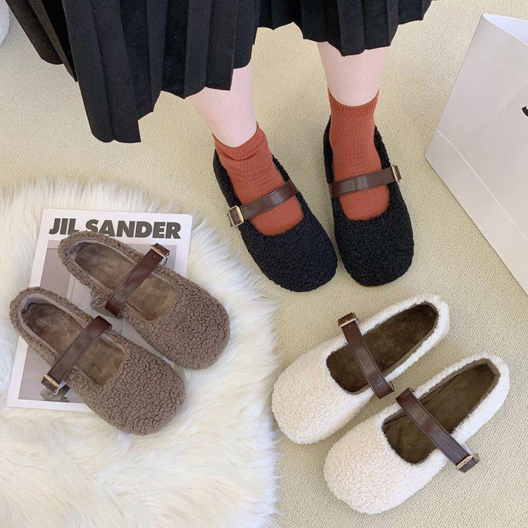 New Style Flat-bottomed Womens Autumn Winter Wear Plus Cashmere Lamb's Peas Shoes Women's Single Sho