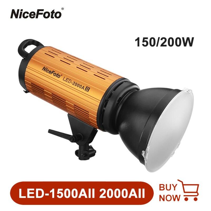 NiceFoto LED-1500AII 2000AII LED صور الفيديو الضوئي 3200-6500K مع بونز جبل مصباح التصوير المهنية ضوء
