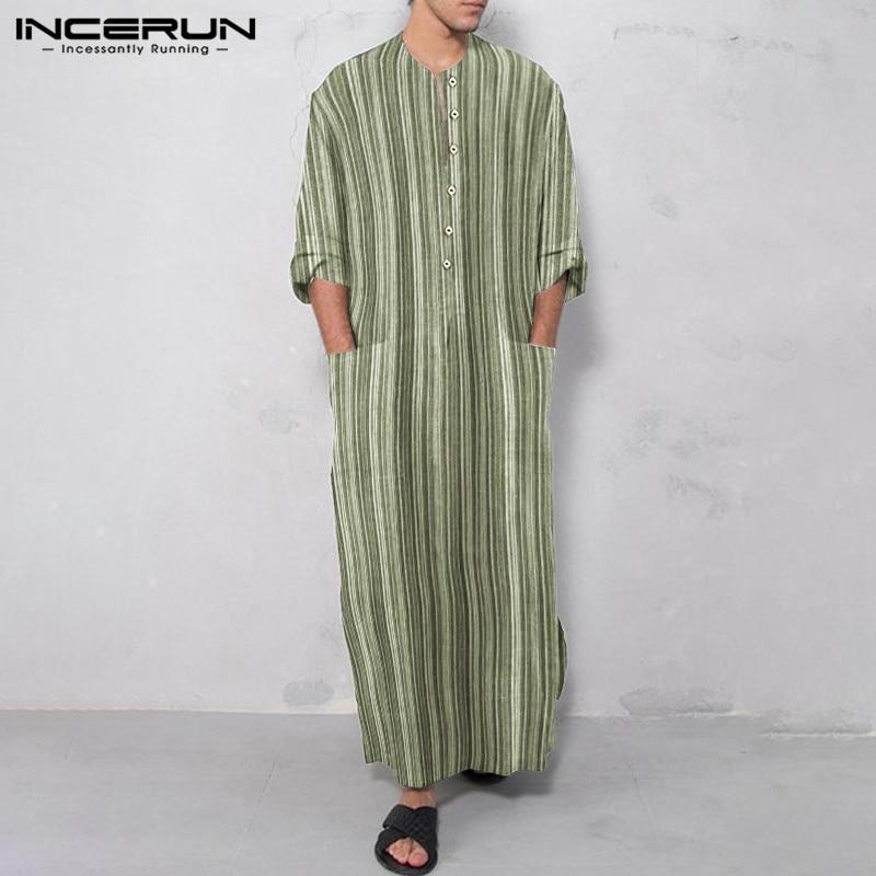 Мужская длинная рубашка в полоску с полурукавами, Повседневная Длинная рубашка, мусульманский кафтан, летние свободные хлопковые рубашки с...
