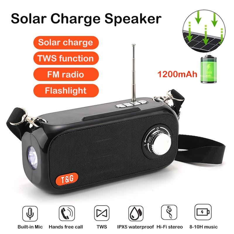 Altavoces Bluetooth con carga Solar, Subwoofer estéreo inalámbrico, caja de música portátil...