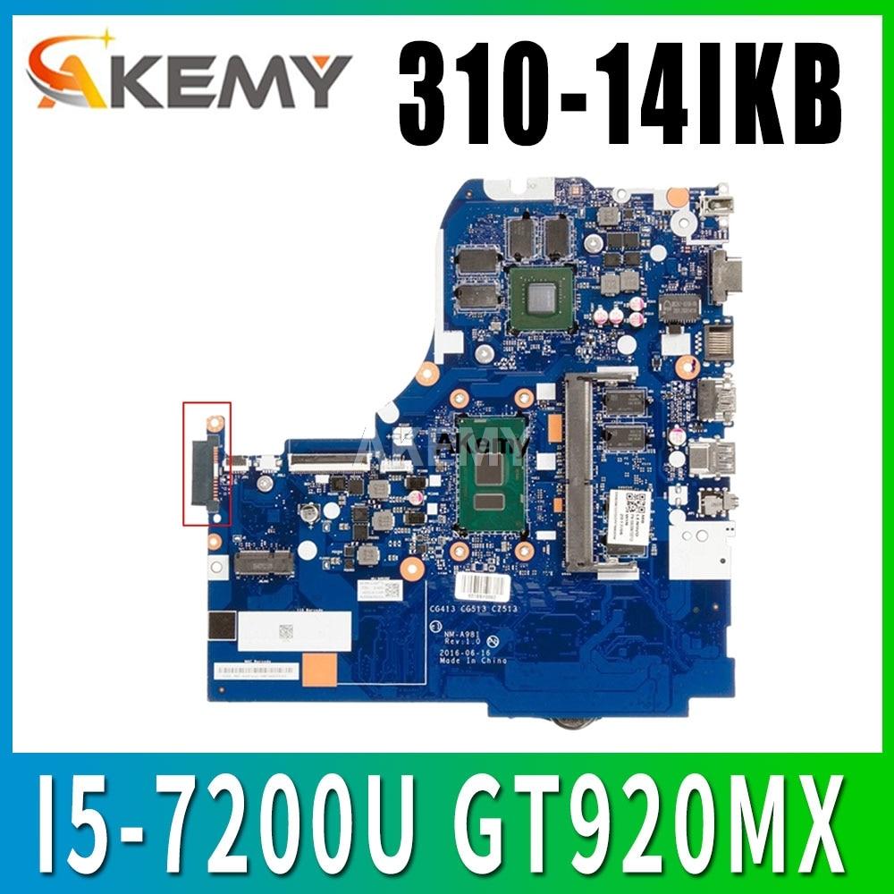 Placa base para portátil NM-A981 para Lenovo 310-14IKB placa base original 4G-RAM I5-7200U GT920MX