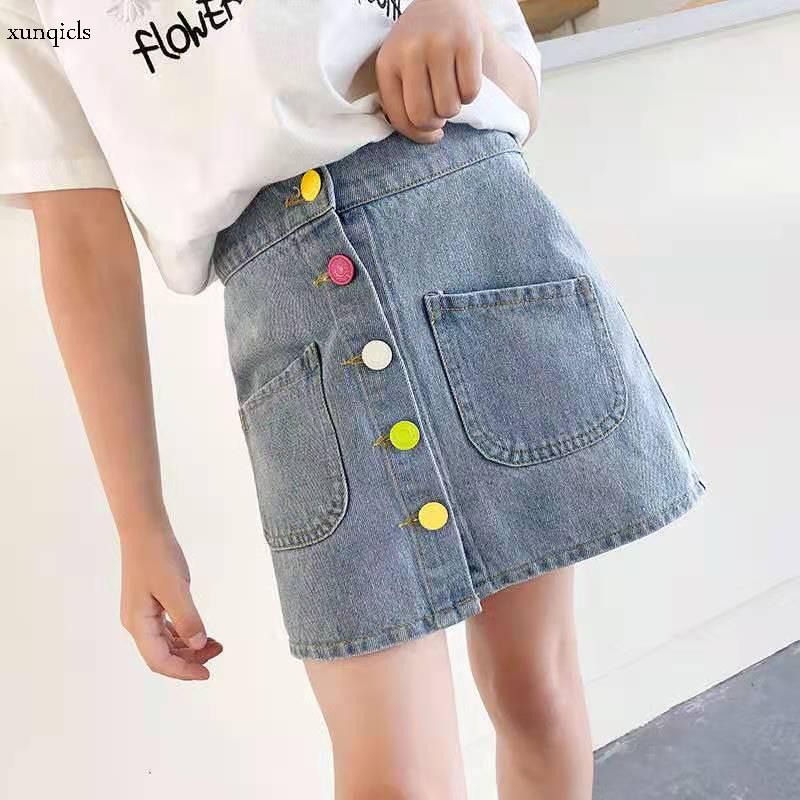 Детская джинсовая юбка для девочек, летняя ковбойская короткая юбка, новая детская одежда для девочек от 4 до 12, Милая юбка Юбки    АлиЭкспресс